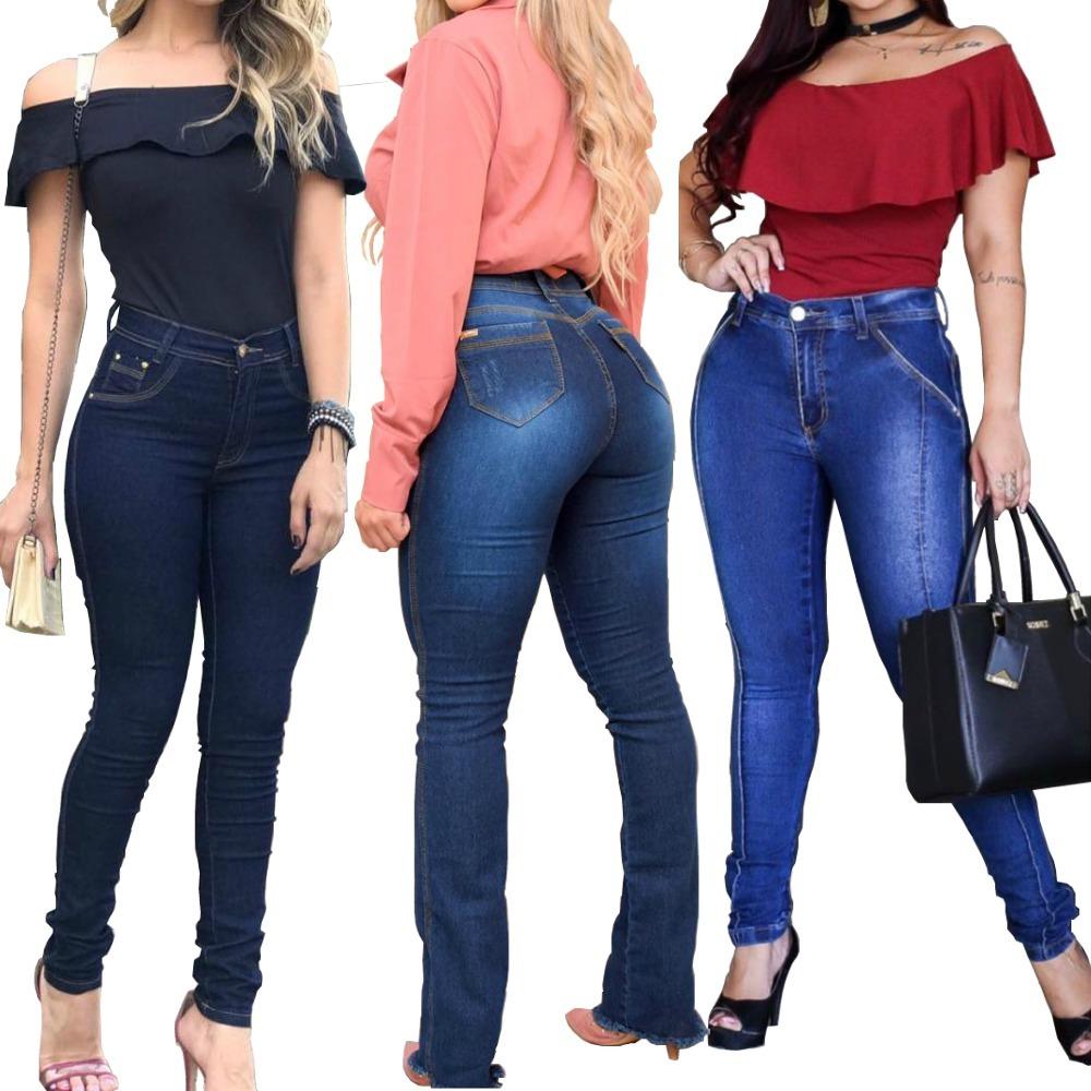 77fba82e55 kit 3 calça jeans feminina lycra cintura alta levanta bumbum. Carregando  zoom.