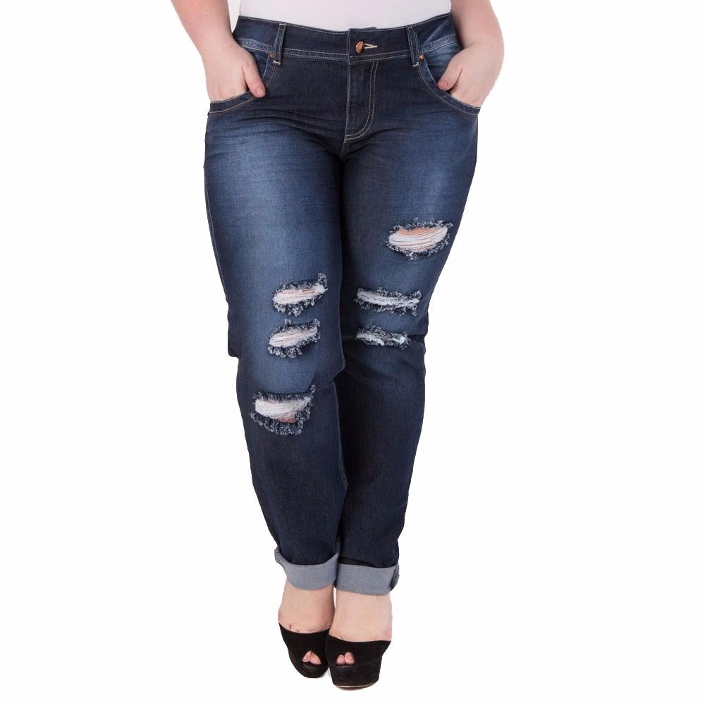 8eb996da8 kit 3 calça jeans feminina plus size lycra rasgada 36 ao 54. Carregando  zoom.