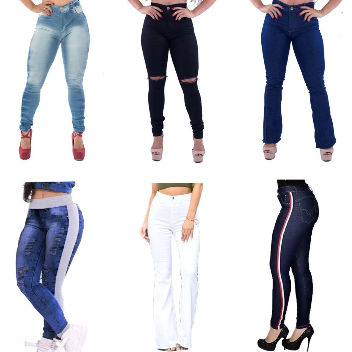 4bfd2d9fc5 kit 3 calça jeans feminino cós alto flare skinny promoção. Carregando zoom.