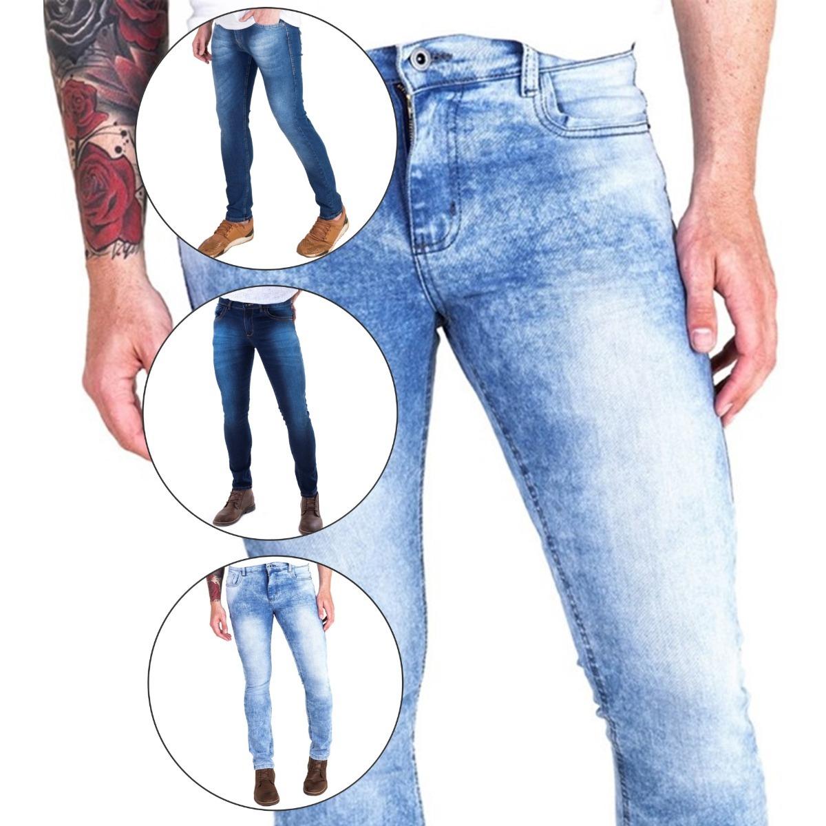 0cd84db80 kit 3 calça jeans masculina skinny slin lycra pronta entrega. Carregando  zoom.