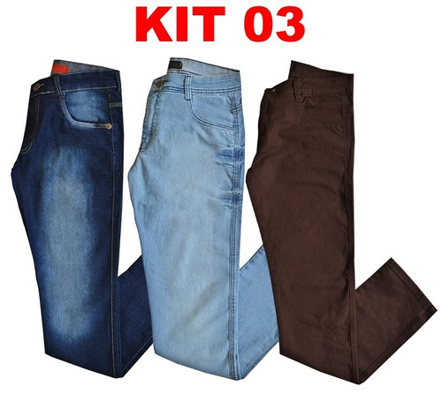 kit 3 calça jeans sarja masculina + brinde slim skinny marca