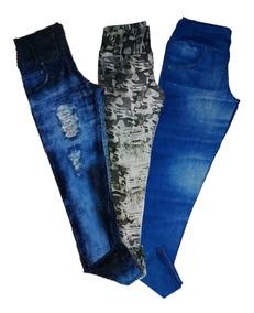 b4566a319258b5 Kit 3 Calça Leg Jeans Fake Imita Jeans Plus Size Gg,g1 E G2