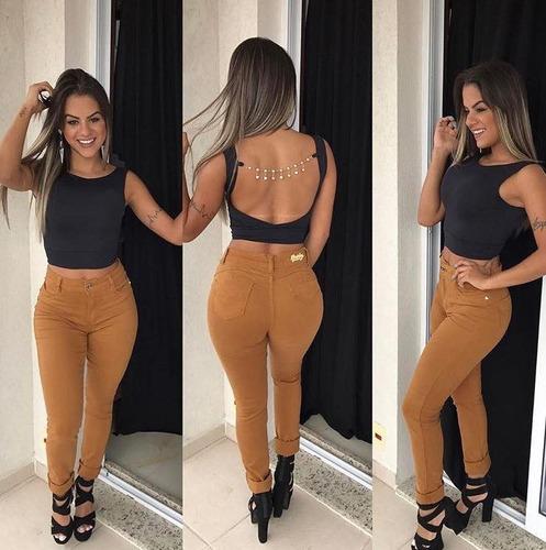kit 3 calças jeans feminina atacado estilo pit bul cós alto