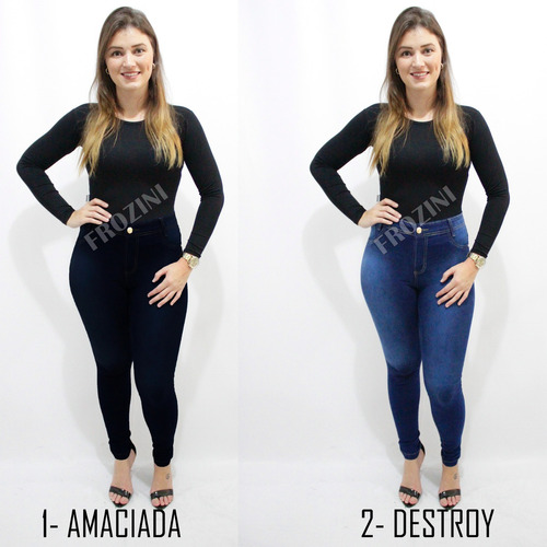 kit 3 calças jeans feminina cintura alta hot pants c/ lycra