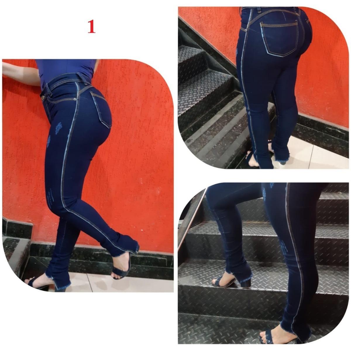321f9334a kit 3 calças jeans feminina cintura alta levanta bumbum. Carregando zoom.