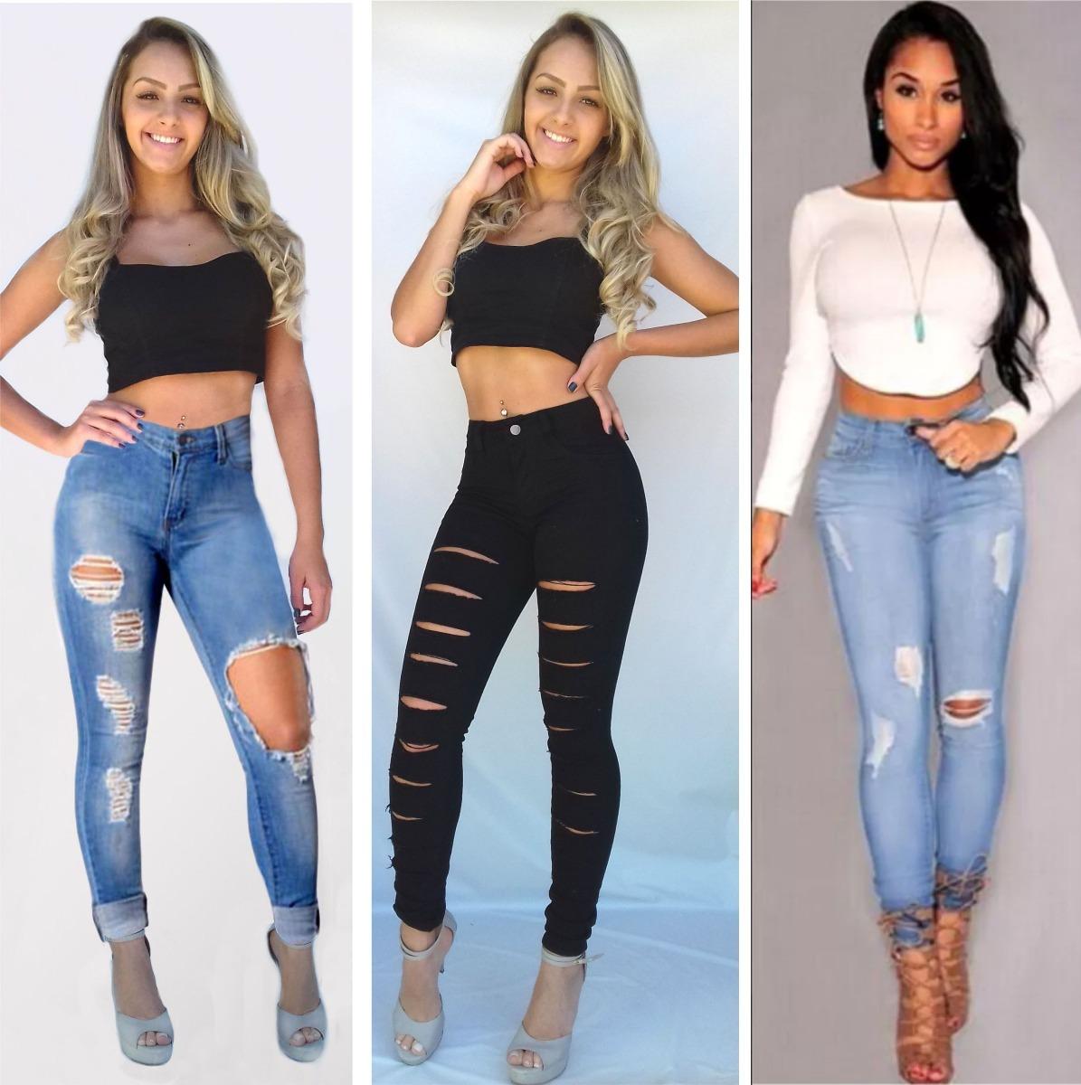 28ba4faf9 kit 3 calças jeans feminina cintura alta lycra rasgada dins. Carregando zoom .