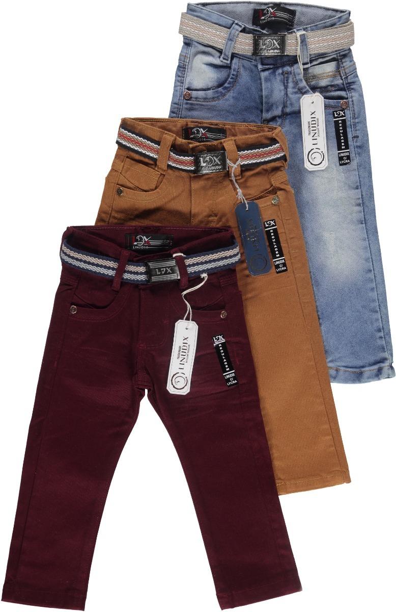 173a737e6b kit 3 calças jeans infantil masculina menino + cinto 02 a 8. Carregando  zoom.