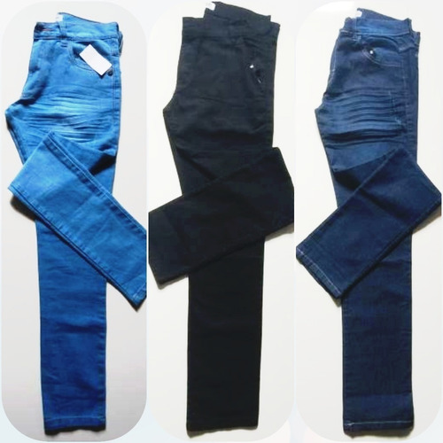 kit 3 calças masculina adulto jeans slim moda promoção