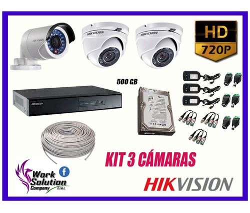 kit 3 camaras de seguridad hikvision hd disco 500gb completo