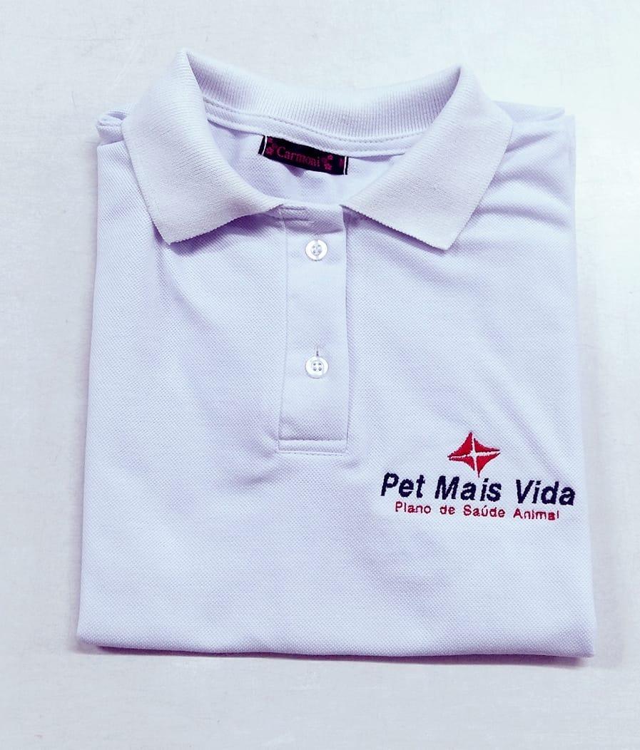 cd20f929a Kit 3 Camisa Polo Lisa Logomarca Bordado Frente Uniforme - R  105