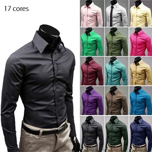 8ea79a7f6c Kit 3 Camisa Slim Masculina Social Lisa Algodão Manga Longa - R  149 ...
