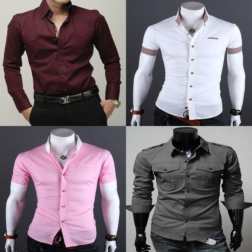 kit 3 camisa social casual masculina slim fit importada. Carregando zoom. ba2c9cc98962b