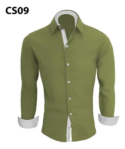kit 3 camisa social masculina slim fit camiseta manga longa