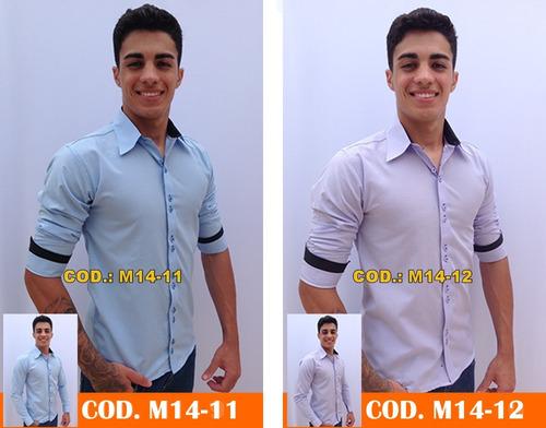 kit 3 camisa social slim fit masculina manga longa promoção