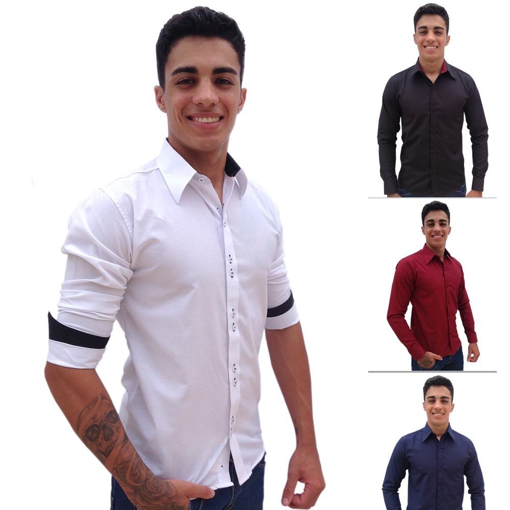 kit 3 camisa social slim fit masculina manga longa promoção. Carregando  zoom. 2eddac8f52af5