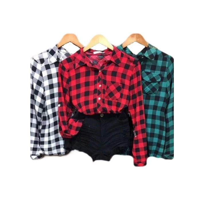 b8c8ead0de Kit 3 Camisa Xadrez Feminina Viscose Variadas Atacado - R  129