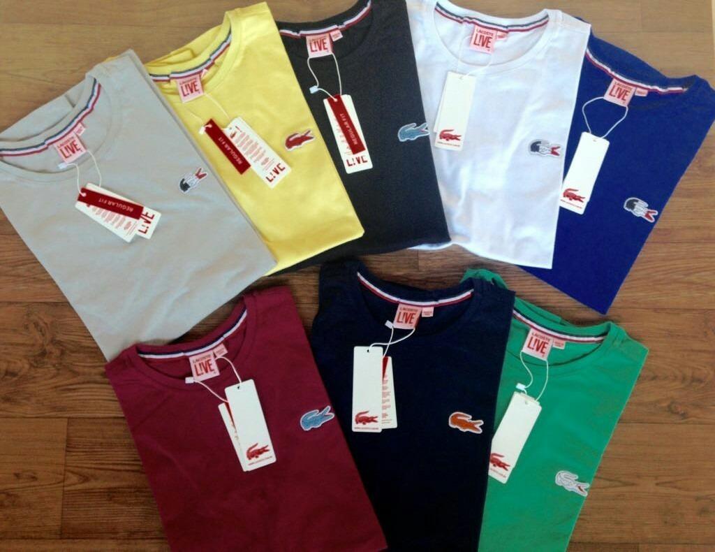 Kit 3 Camisas Básicas E 2 Camisas Estampadas Lacoste - R  144,90 em ... 28c6fe7db3