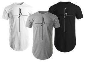 53b82e339c Kit 3 Camisas Blusas Camisetas Masculinas Longline Fé