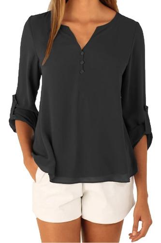 kit 3 camisas blusas social feminina gola v mullet camisete