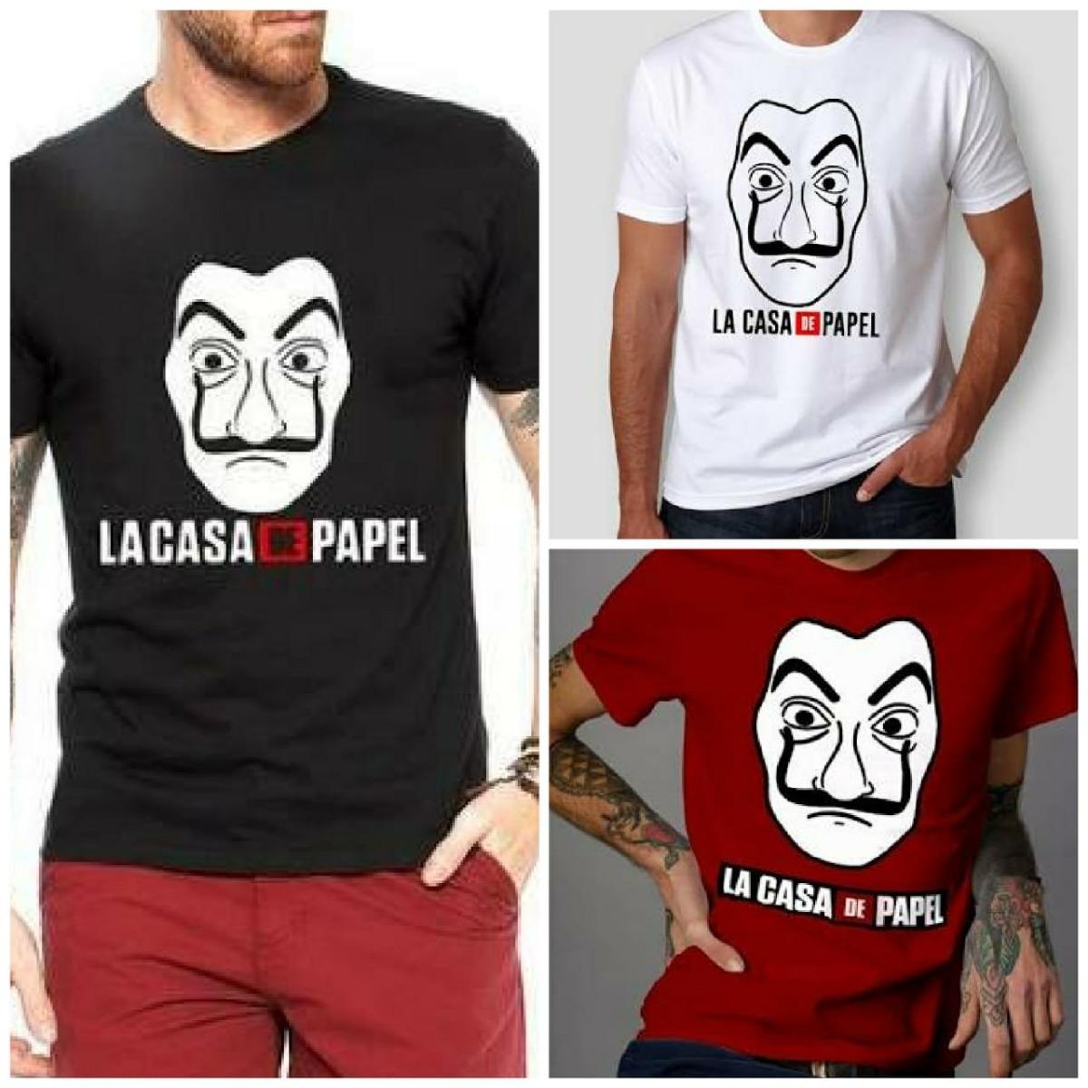 Kit 3 Camisas Camiseta La Casa De Papel Mascara Frete Gratis - R ... 638c5df05dd30