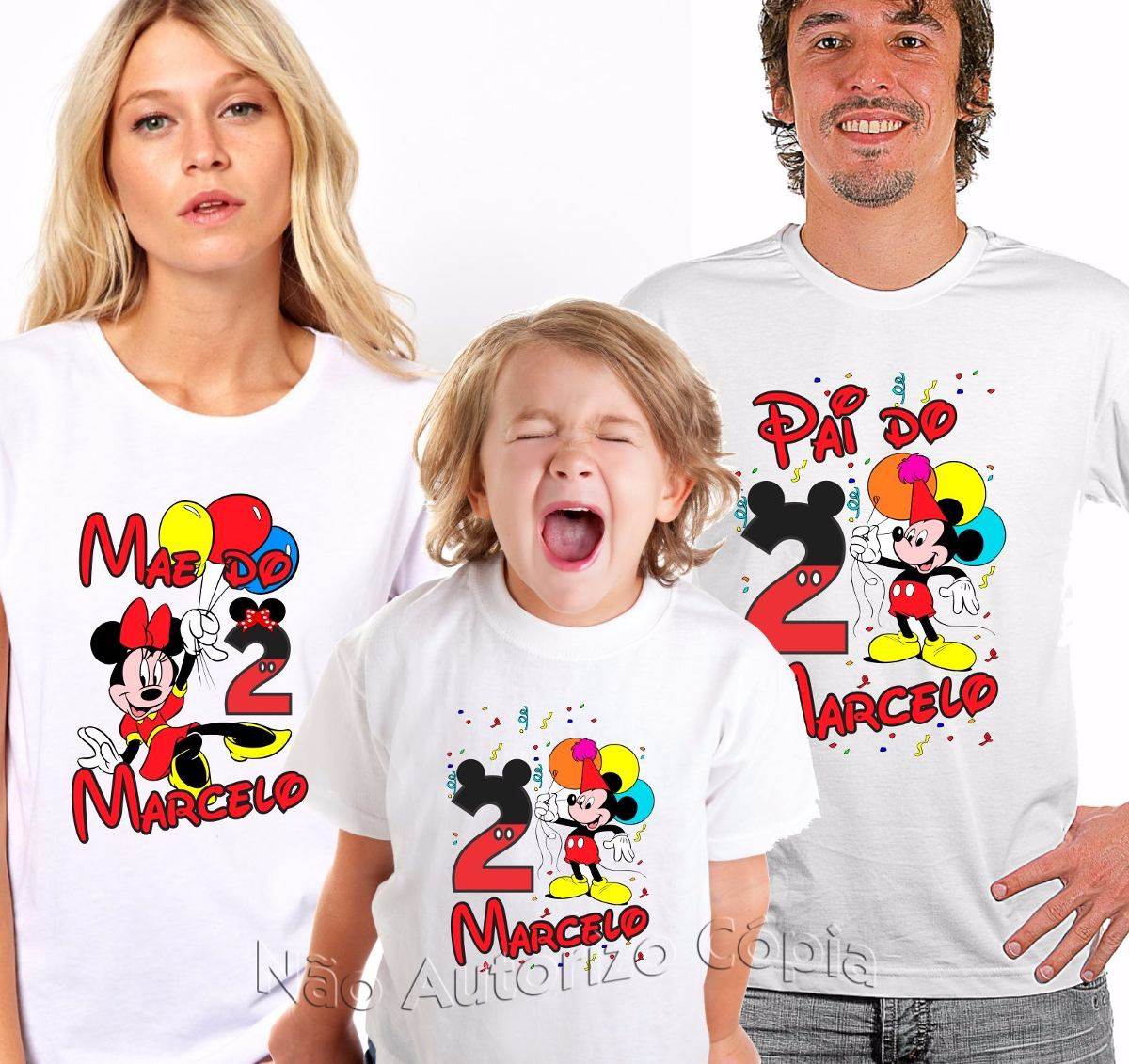 18ab91707d kit 3 camisas camiseta personalizada aniversário temas. Carregando zoom.