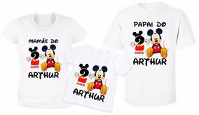 ec78f8ae22d749 Kit 3 Camisas Camiseta Personalizada Pai Mãe Filho Mickey