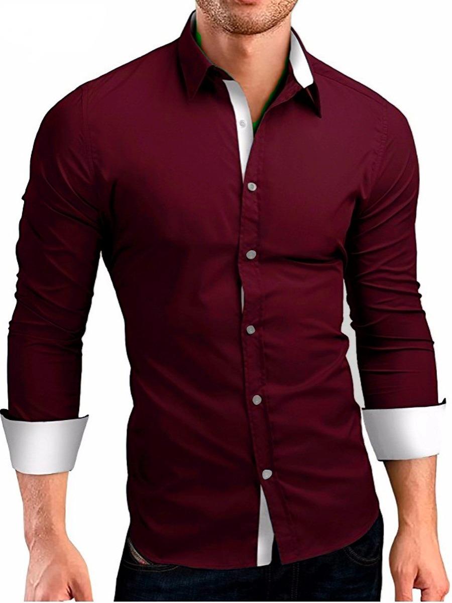 2a0fdf9477 Kit 3 Camisas Camiseta Social Masculina Slim Tricoline Lycra - R ...