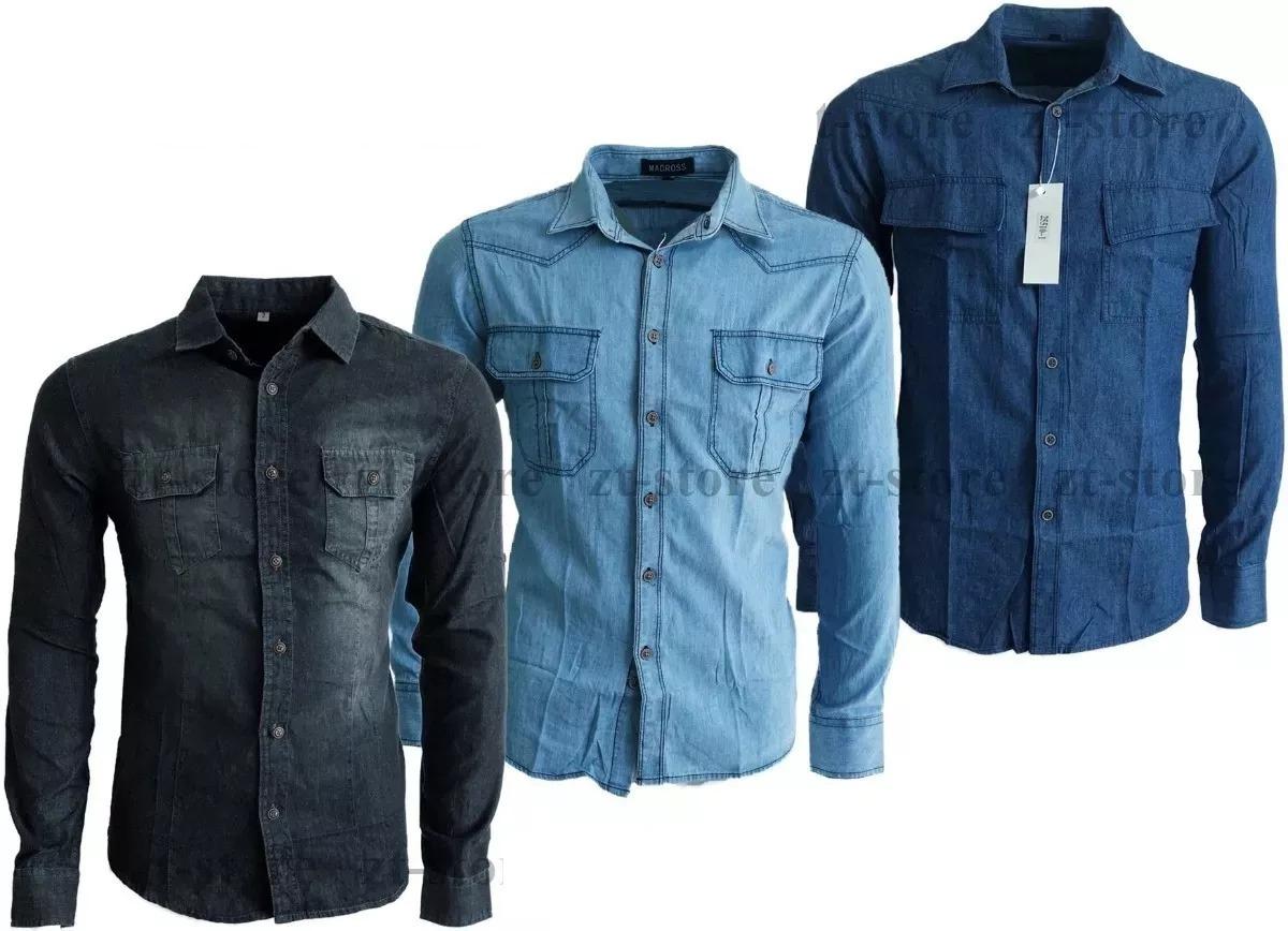 kit 3 camisas masculina jeans slim importada c  frete gratis. Carregando  zoom. 9a7a3b7d7790e