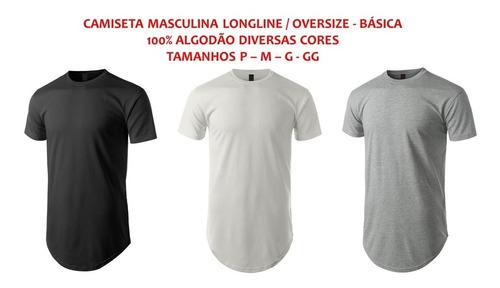 kit 3 camisas masculinas longline oversized swag oferta