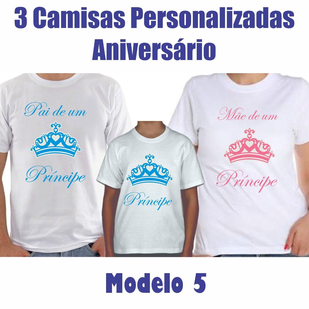 eaf6a90d9 kit 3 camisas pai mãe de um príncipe princesa -personalizada. Carregando  zoom.