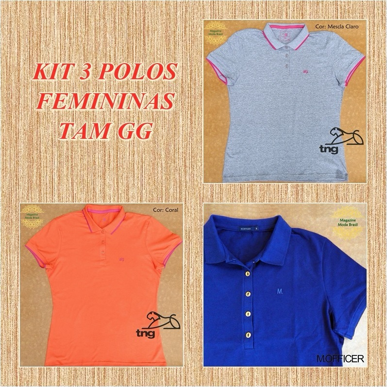 1eee2d5a40 Kit 3 Camisas Polo Femininas Gg - Frete Grátis - R  140
