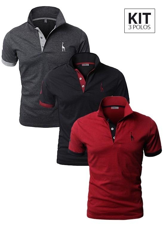 8d4a573a64 Kit 3 Camisas Polo Giraffe - Cinza Preta E Vermelha - R  189