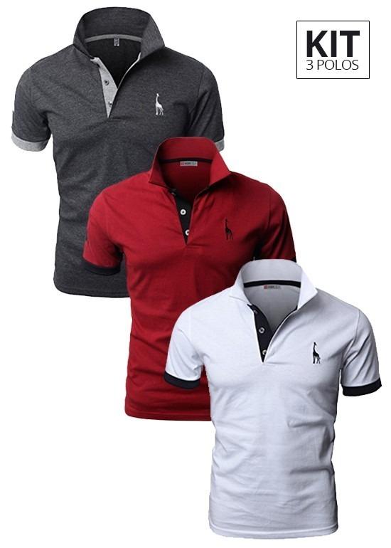Kit 3 Camisas Polo Giraffe Cinza 12b705b3da207