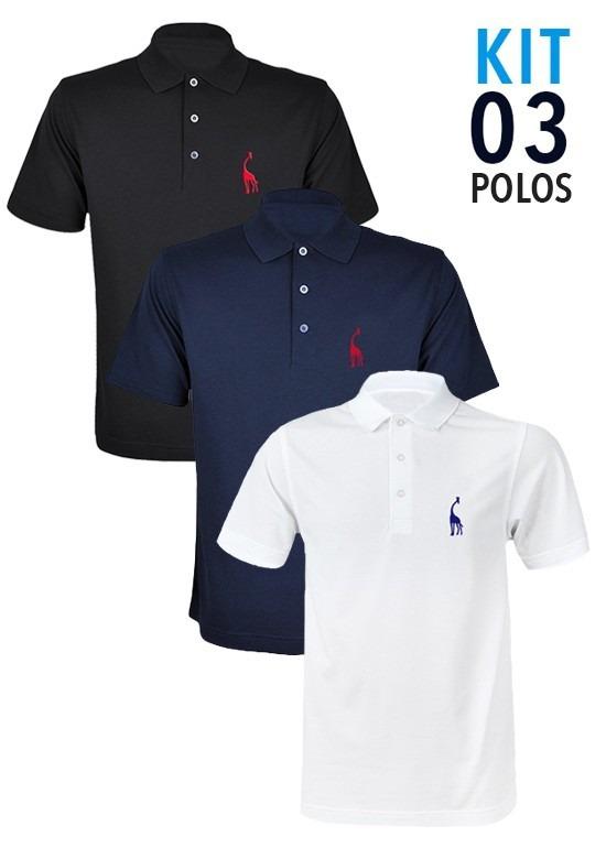 d47cd0ed1 Kit 3 Camisas Polo Giraffe - Varias Cores - Original - R  199