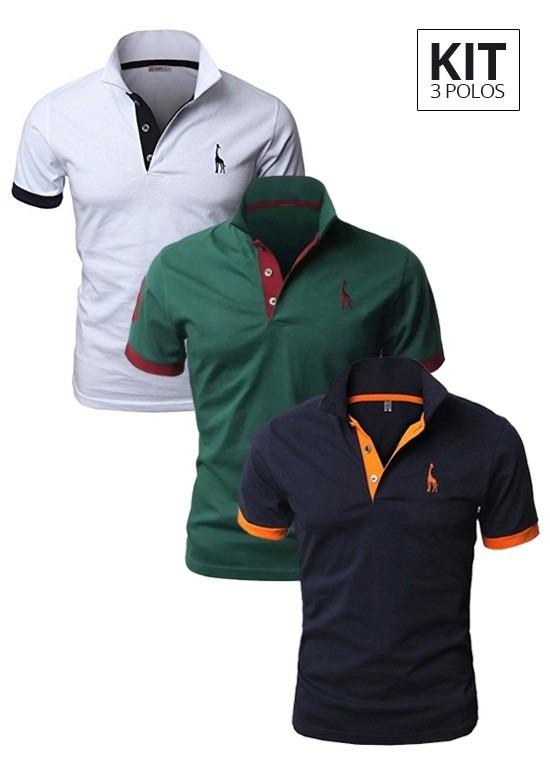 Kit 3 Camisas Polo Giraffe Varias Cores - Original- Promoção - R ... 41fb59185c733