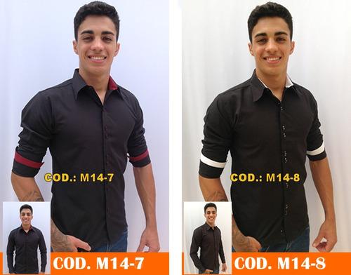 kit 3 camisas slim fit social masculina blusa longa camiseta