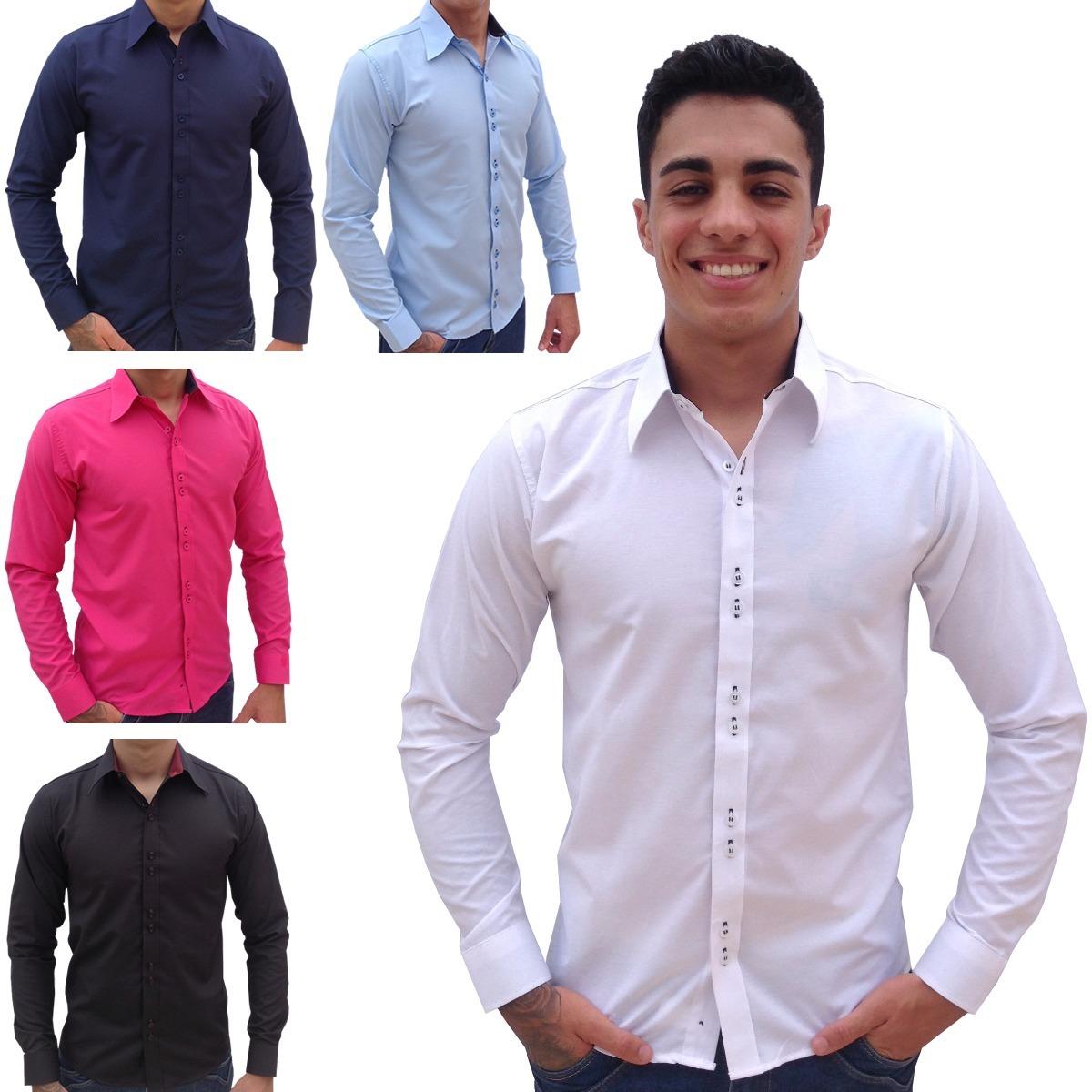 24b803731 kit 3 camisas social masculina slim blusa camiseta longa wel. Carregando  zoom.