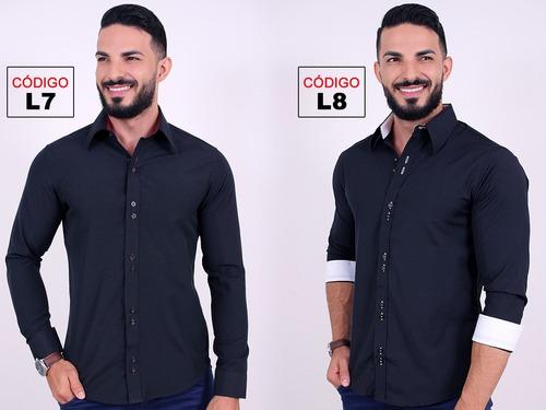 kit 3 camisas social masculina slim blusa camiseta longa wel
