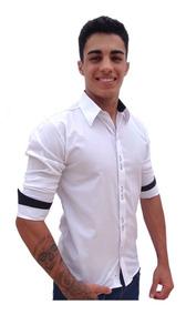 50fab713b36b5 Camisa Social Masculina Manga Longa Slim Fit Tecido Relevo ...