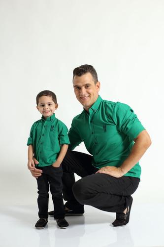 kit 3 camisas social tal pai tal filhos