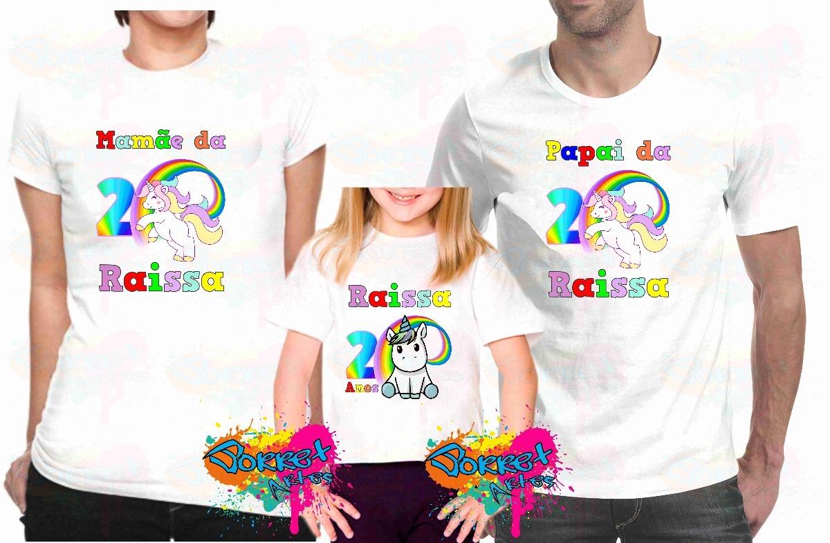 92601464a Kit 3 Camiseta Camisa Personalizada Para Festa Unicórnio A4 - R  64 ...