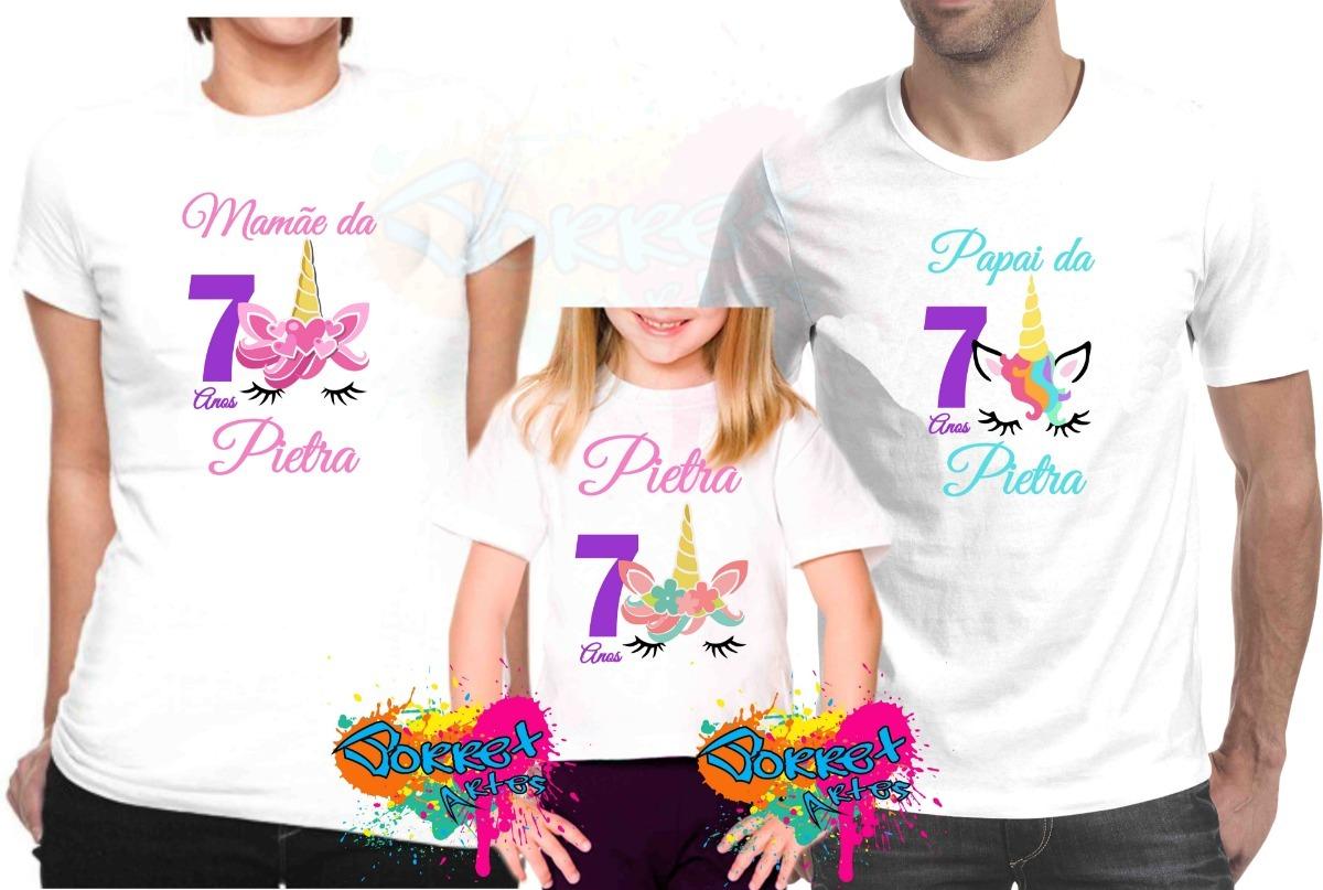 Kit 3 Camiseta Camisa Personalizada Para Festa Unicórnio A4 - R  64 ... 4f9a4941d9646