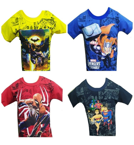 kit 3 camiseta infantil juvenil menino personagens herois