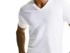 1d5c838699 Camiseta Branca Gola V - Camisetas Masculino Manga Curta no Mercado Livre  Brasil