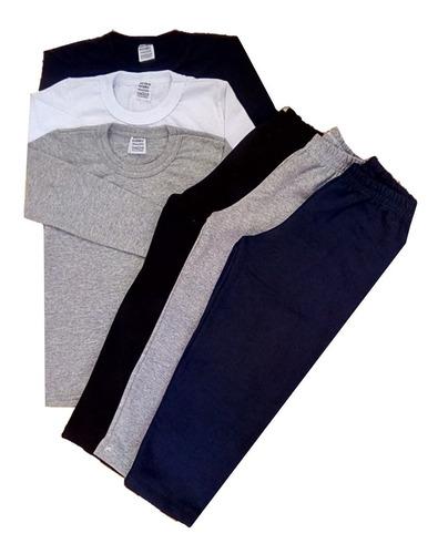 kit 3 camiseta manga longa,  3 calças moletom tam. 4/6/8/