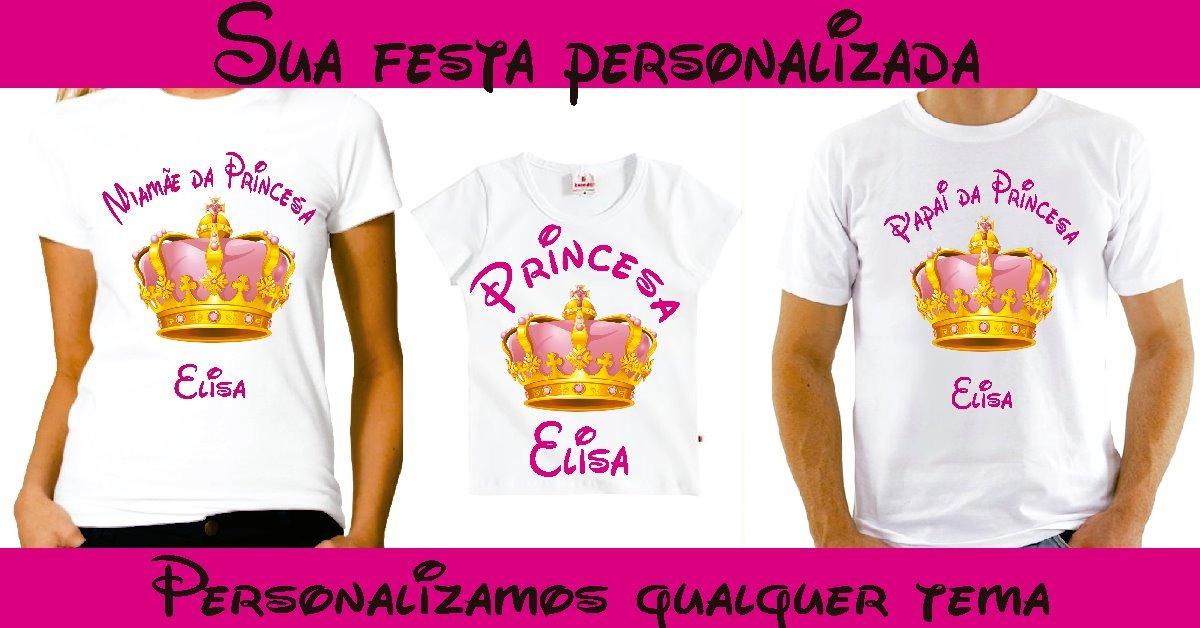142e616ae kit 3 camiseta personalizada princesa. Carregando zoom.