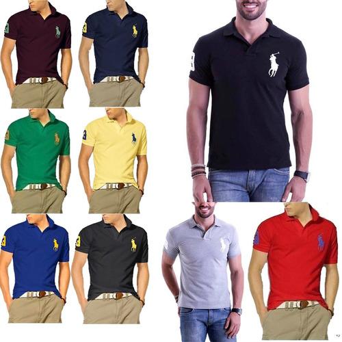 kit 3 camisetas gola polo masculina grandes marcas atacado