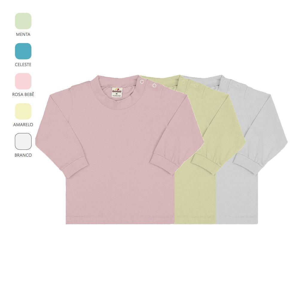 kit 3 camisetas manga longa de bebê unissex com botão p-m-g. Carregando  zoom. 02b0c25d794