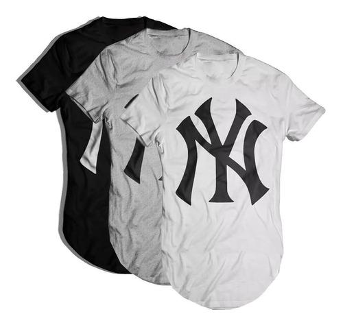kit 3 camisetas oversized longline masculina new york