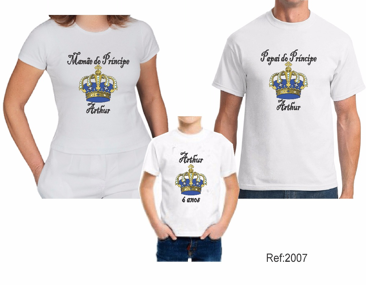 0bcbe5e5c kit 3 camisetas personalizada aniversario principe princesa. Carregando  zoom.